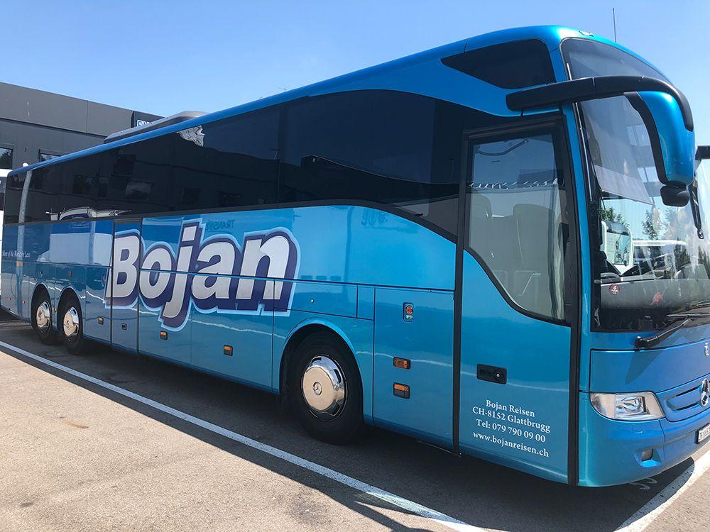 Busbeschriftung - Bojan Reisen
